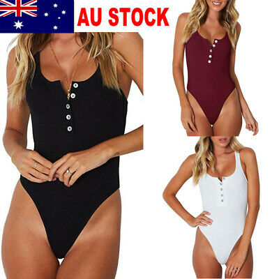 AU Women Jumpsuit Bodycon Bodysuit Leotard Top Romper Blouse Sleeveless Shirts