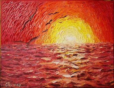Sea Painting Original On Canvas Sunset Art Oil Painting Abstract Impasto