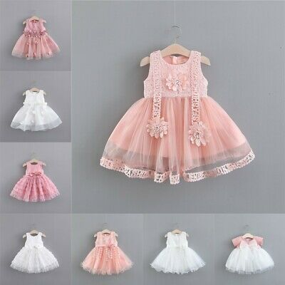 Baby Girls Sleeveless Bridesmaid Party Dress Age 1-5 Kids Mesh Princess Costumes