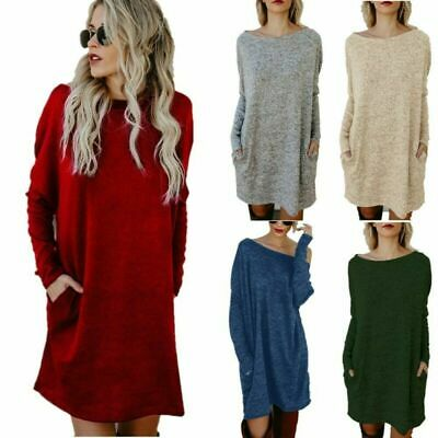 UK Womens Knitted Oversized Sweater Jumper Dress Ladies Winter Long Pullover Top