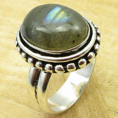 Authentic Labradorite Ring Size 9 OLD STYLE ! Silver Plated Jewelry ONLINE STORE
