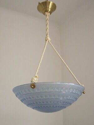 Great Vintage French Pale Blue Opaque Glass Ceiling Light With New Fittings 1065