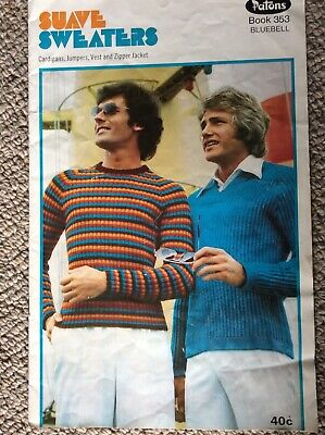 Vintage Patons Knitting Pattern Book 353 Suave Sweaters - Bluebell