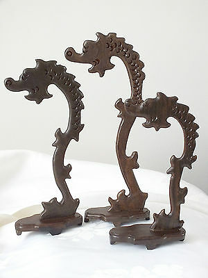 3 Chinese Rosewood Dragon Lms Pendant Writing Brush Stand Rest Party Gift A3