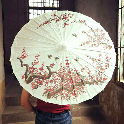 Red Cherry Blossom White Paper Parasol Chinese Wedding Japanese Umbrella A1