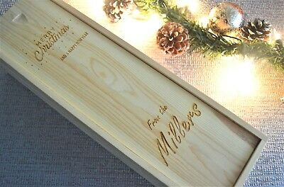 Wooden Wine Bottle Box Pine Christmas Gift Presentation Box Personalised present