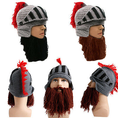 e6576b3eafb HOT Cosplay Tassel Roman Knight Knit Helmet Men Cap Winter Warm Beard Hat  OTO