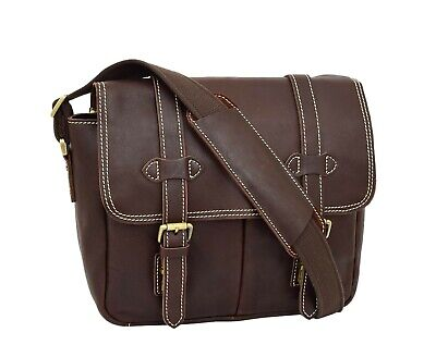 Womens Real Leather Brown Cross Body Shoulder Bag Multi Use Camera Organiser NEW