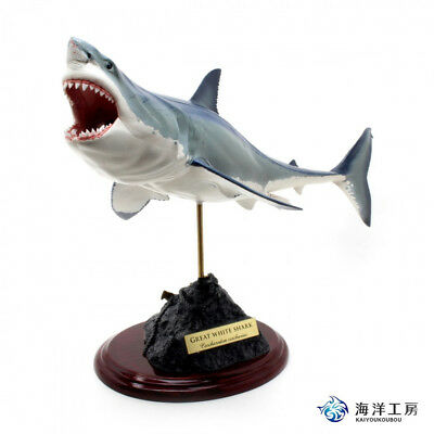 Great white shark Figure 2 great white shark Fish carving Handmade kaiyoukoubou