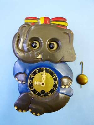 Old Vintage Miken Wooden Wall Clock Ribbon Elephant from Japan F/S