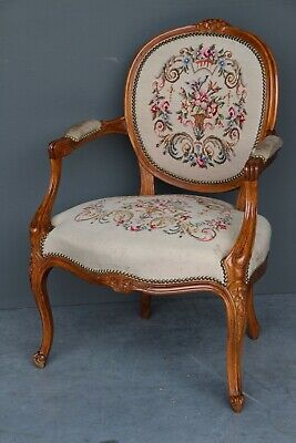 Ornate vintage French Louis XV carved armchair fauteuil antique tapestry chair