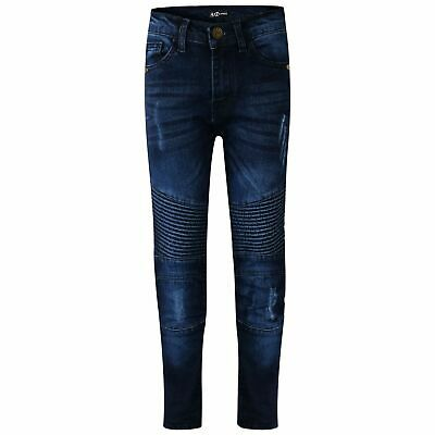 Kids Boys Stretchy Designer Jeans Pants Dark Blue Ripped Denim Skinny Trousers.