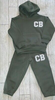 Personalised khaki green boys kids childs tracksuit hoodie initials joggers 5-6