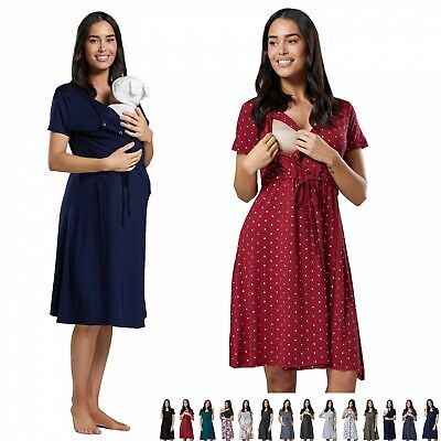 Zeta Ville. Women's Maternity Delivery Hospital Tied Waist Gown Nightshirt. 001p