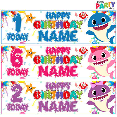 2x Personalised Birthday Banner BABY SHARK Party Balloons Decoration - ANY AGE
