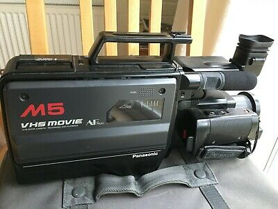 Panasonic M5 VHS Movie Camera with light, in good working order, in a carry case