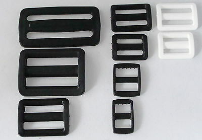 2x Plastic Sliders Fasteners Strap Adjuster for Bags Clothes Aprons Black, White