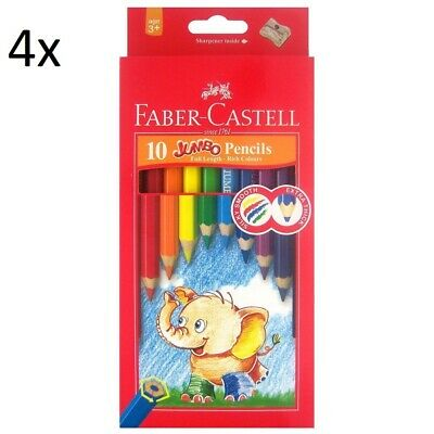 4x packs of Faber-Castell Jumbo Coloured Pencils Assorted 10 Pack total 40 pcs