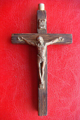 Antique Beautiful Religious Olive Wood Large Cross Crucifix Pendant #39