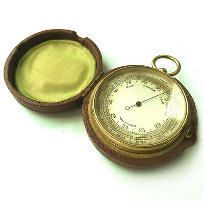 A Beautiful English Pocket Barometer In Red Leather Case