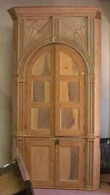 Antique Large Refinished One Piece Corner Cupboard Late 18th Century