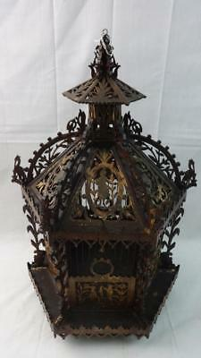 Highly Detailed Antique Hexagonal Wooden Fretwork Birdcage Spectacular!!