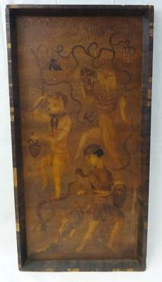 Early Antique Inlaid Wood Panel 3 Boys & Peacocks Possibly Asian?