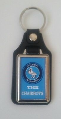 Wycombe Wanderers  Quality leather fob Keyring.