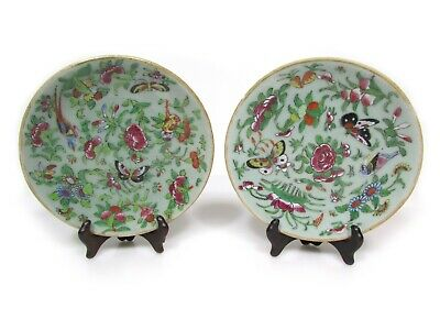 Pair of Chinese export porcelain famille rose enameled celadon plates