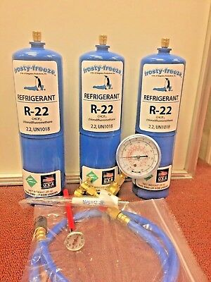 Refrigerant 22,  R-22, Refrigeration, A/C, (3) 28 oz Cans Recharge Kit  Nice New