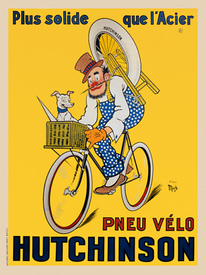 Pneu Velo Hutchinson Vintage Bicycle Poster Print Art Advertisement - Cycling
