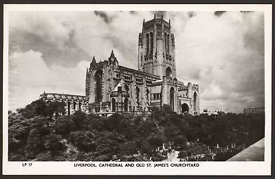 Cheshire - Liverpool Cathedral & Old St.James's Churchyard - Real Photo Postcard