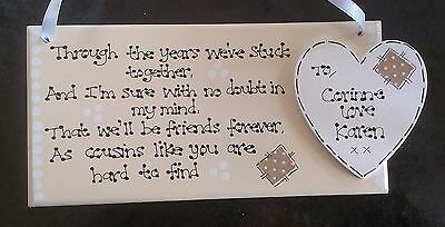 Personalised Special Cousins Friends Cousin Forever Poem Thank You Gift Plaque