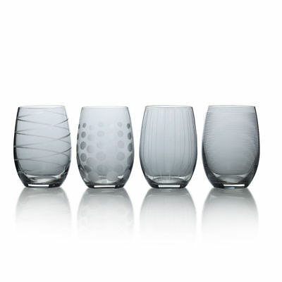 Mikasa Cheers Smoke Set of 4 Stemless Wine Glasses