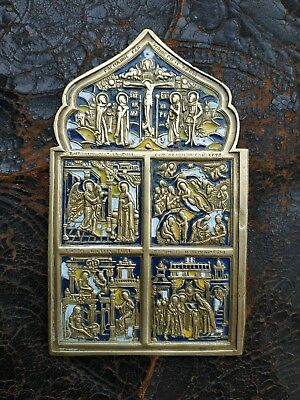 Russia 19 Century Old Bronze Russian Orthodox Icon with Enamel Rare!