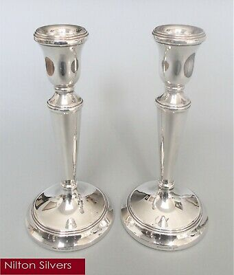 Pair contemporary solid silver 7.3'' candlesticks, L.J. Millington, B'ham 2002