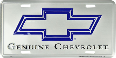 "Genuine Chevrolet Chevy Trucks Cars Silver Tag 6""x12"" Aluminum License Plate"