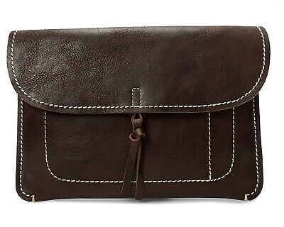 Real Leather Wrist Clutch Bag Small Organiser A5 Size Underarm Folio Case Brown