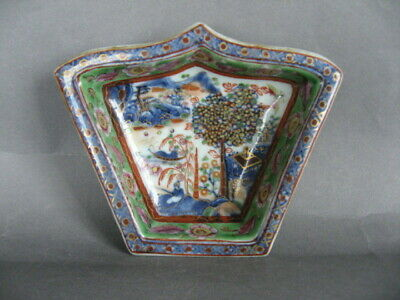 An 18th C. Chinese porcelain dish, clobbered in UK, Qianlong.