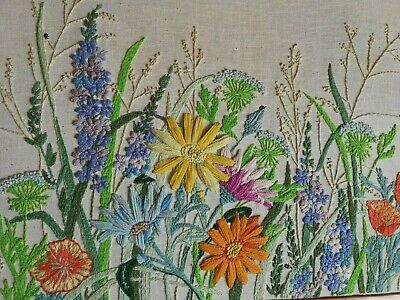 Large Vintage Hand Embroidered Floral Panel Cottage Garden Flowers Queen Anne's