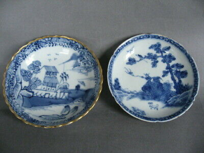 2 18th C. Qianlong period Chinese blue and white porcelain saucers