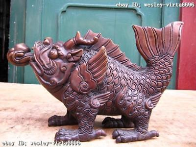 7 Chinese Peculiar Pure bronze Copper Carved beast Dragon Fish Play Bead Statue