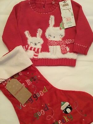 Mothercare Baby Girls Age 3-6 Mth Christmas Bunny Jumper & Christmas Stocking ☃️
