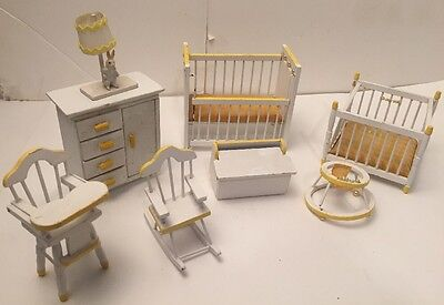 Vintage Nursery Doll House Wood Furniture - 8 Piece White / Yellow Gingham