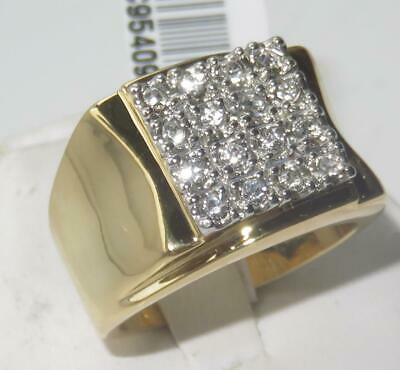W062 MANS SIMULATED DIAMOND 9STONE 3.5CT MENS RING SIGNET PINKY SIZE Z+2 Z+6