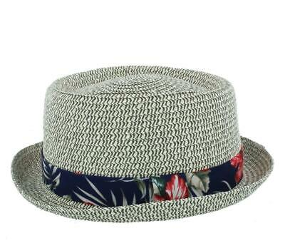 595ad436aad92e Straw Hawaiian Style Pork Pie Summer Retro Hat - Colour Pale Grey/ White