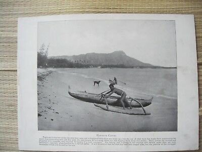 Vintage Hawaii 1898 HAWAIIAN CANOES original print from photograph