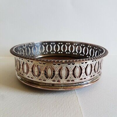 Antique Silver Plate on Copper Wine Coaster Pierced Gallery Wooden Base