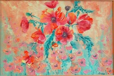 Poppies Flowers Painting Original Art Abstract Impasto  Author's Oil Painting