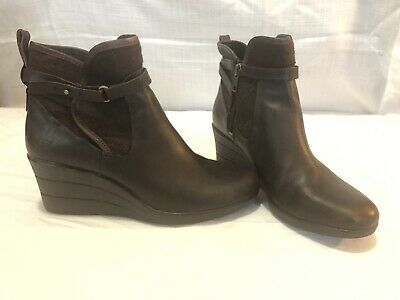 c6380536f23 UGG EMALIE WOMEN'S Dark Brown Leather Waterproof Zip Wedge BOOTS Size 6